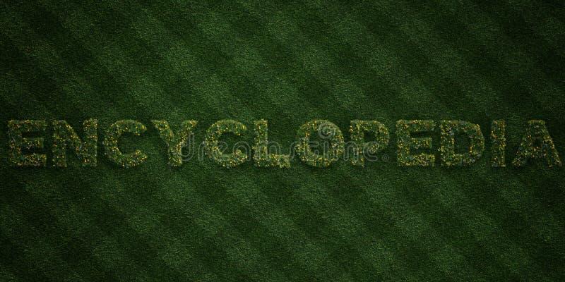 ENCYCLOPEDIE - verse Grasbrieven met bloemen en paardebloemen - 3D teruggegeven royalty vrij voorraadbeeld royalty-vrije illustratie