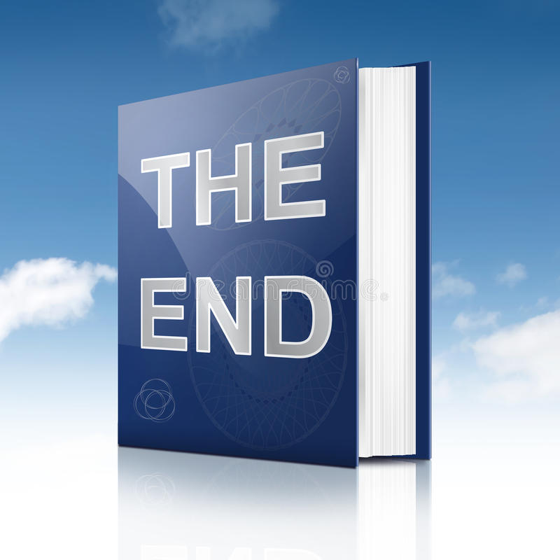The end. Illustration depicting a book with the end concept title. Sky background stock illustration
