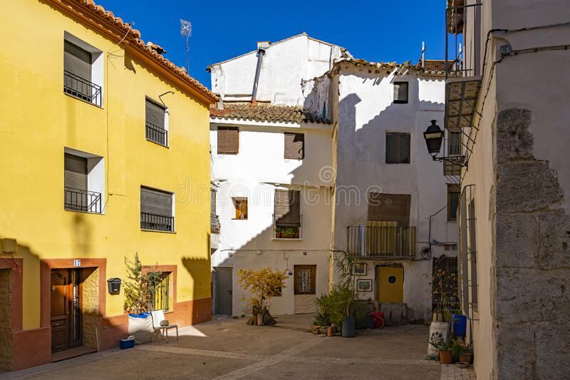 At the end of Calle Castillo you find this little square Plaza Pozo in Requena, Spain stock photo