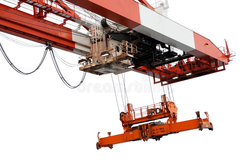 End of container crane beam and spreader, isolated stock image