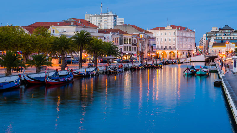 Central Canal of the Ria de Aveiro. End of the day in the central channel of the Ria de Aveiro royalty free stock photo