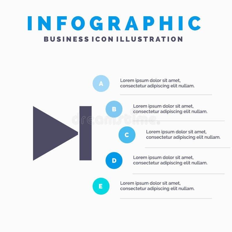End, Forward, Last, Next Solid Icon Infographics 5 Steps Presentation Background vector illustration