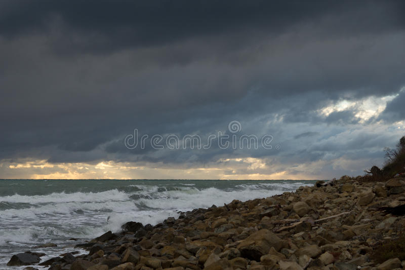 End of gale. Closing stormy date at the Black sea royalty free stock image