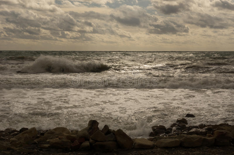 End of gale. Closing stormy date at the Black sea stock photography