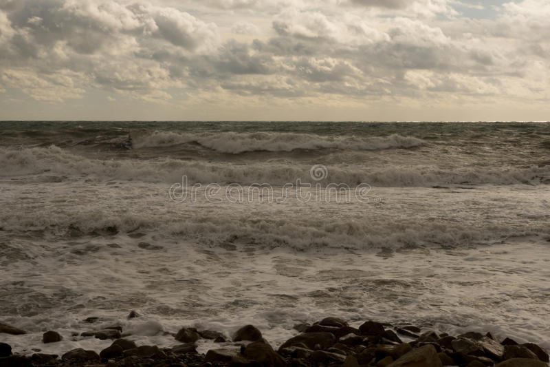 End of gale. Closing stormy date at the Black sea royalty free stock images