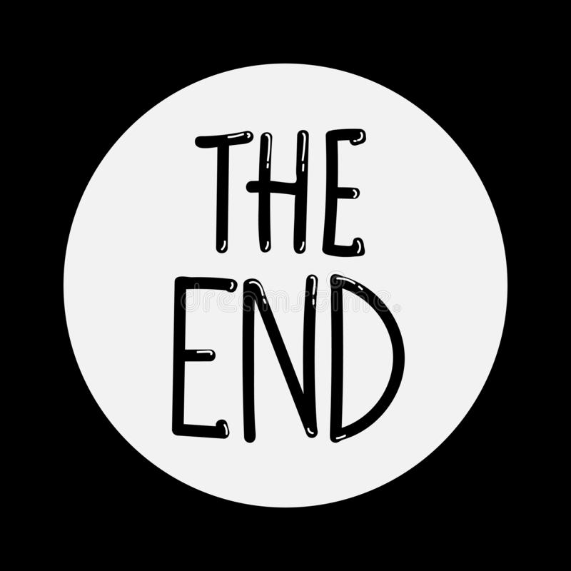 The End handwritten inscription. Black on white. Hand drawn phrase. Editable vector shape illustration vector illustration