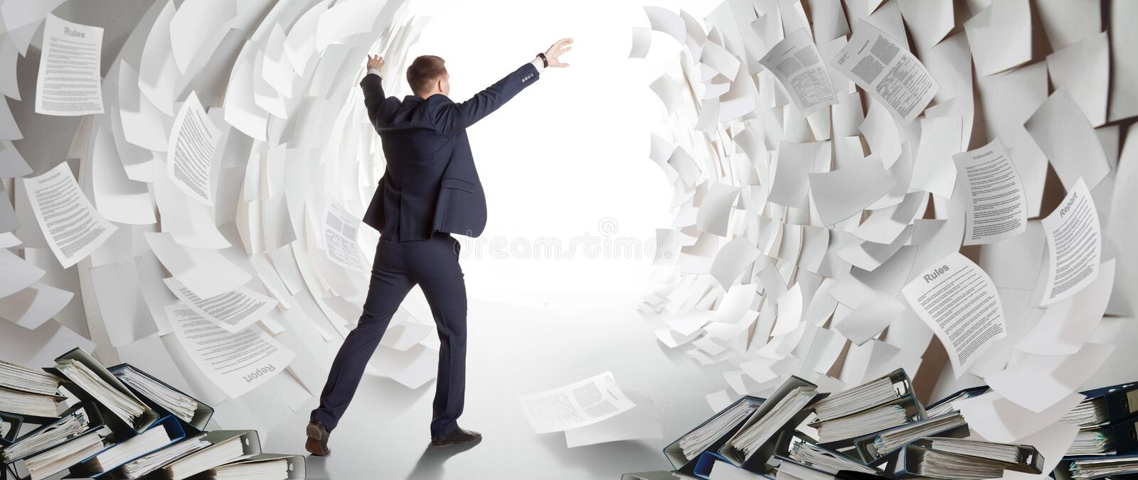End of heavy office work stock image