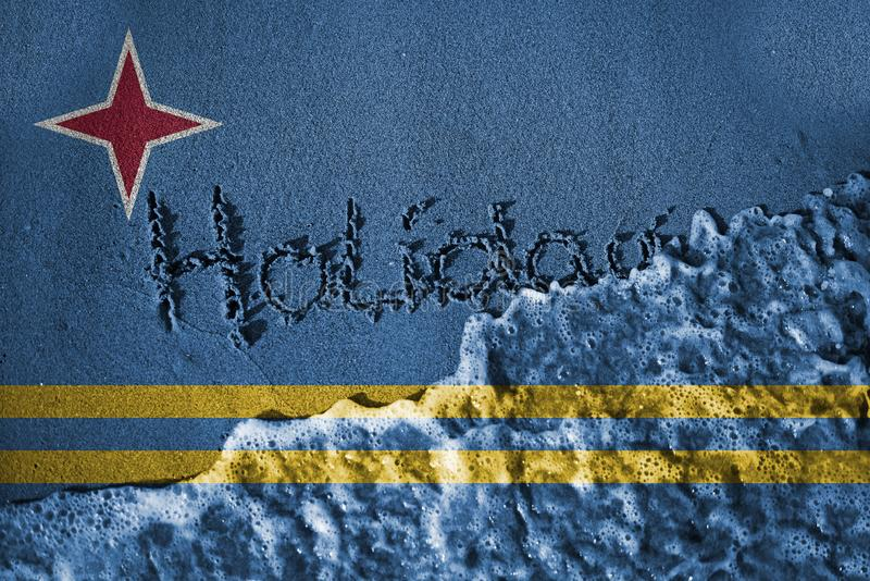 End of holiday sign and sea wave background or texture with blending Aruba flags stock images