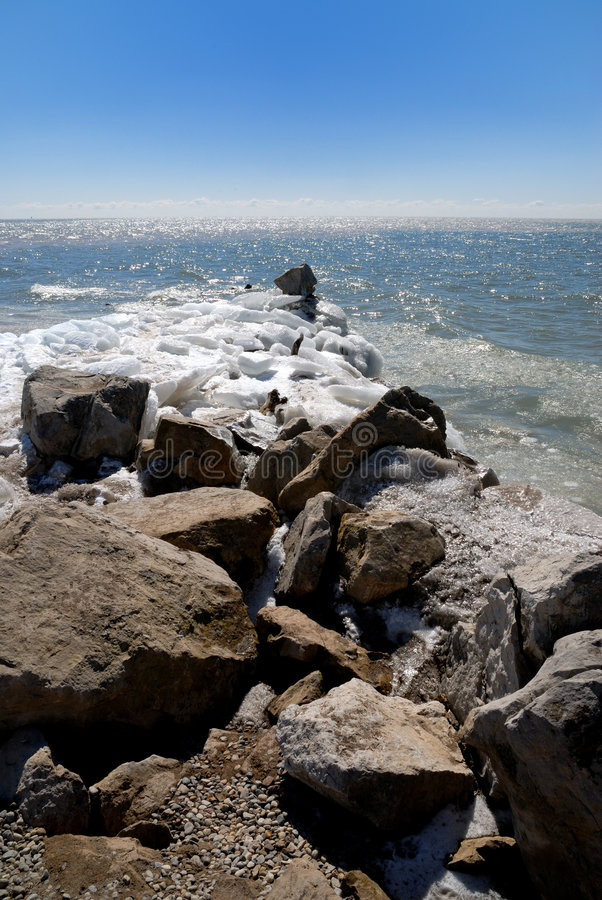 Download The End of Land stock photo. Image of rocks, winter, land - 3357668