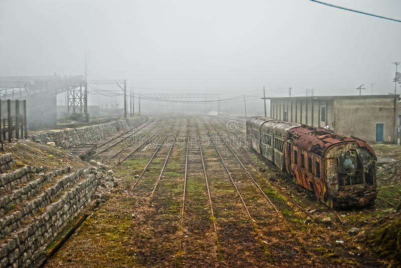 Train at the end of the line stock image