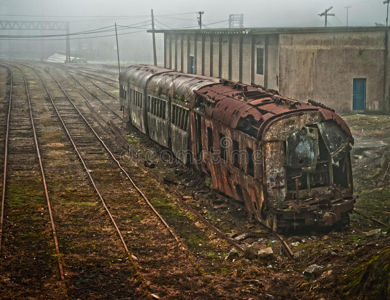 Train at the end of the line. This is on Paranapiacaba city, near São Paulo in Brazil. Old rusty ruined train at the end of the line royalty free stock image