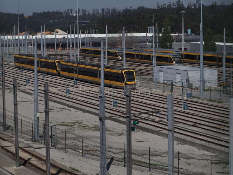 Metro subway station of Porto Portugal. End of the line  with subway carriages parked at maintenance park Guifões, Senhora da Hora royalty free stock photo