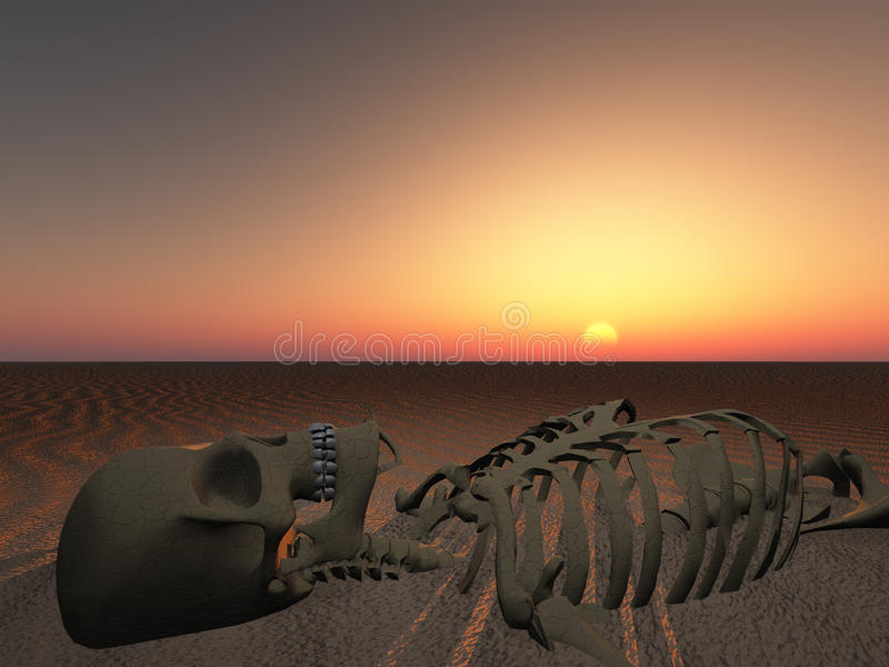 End of man. Sun rises or sets over skeleton of man stock illustration