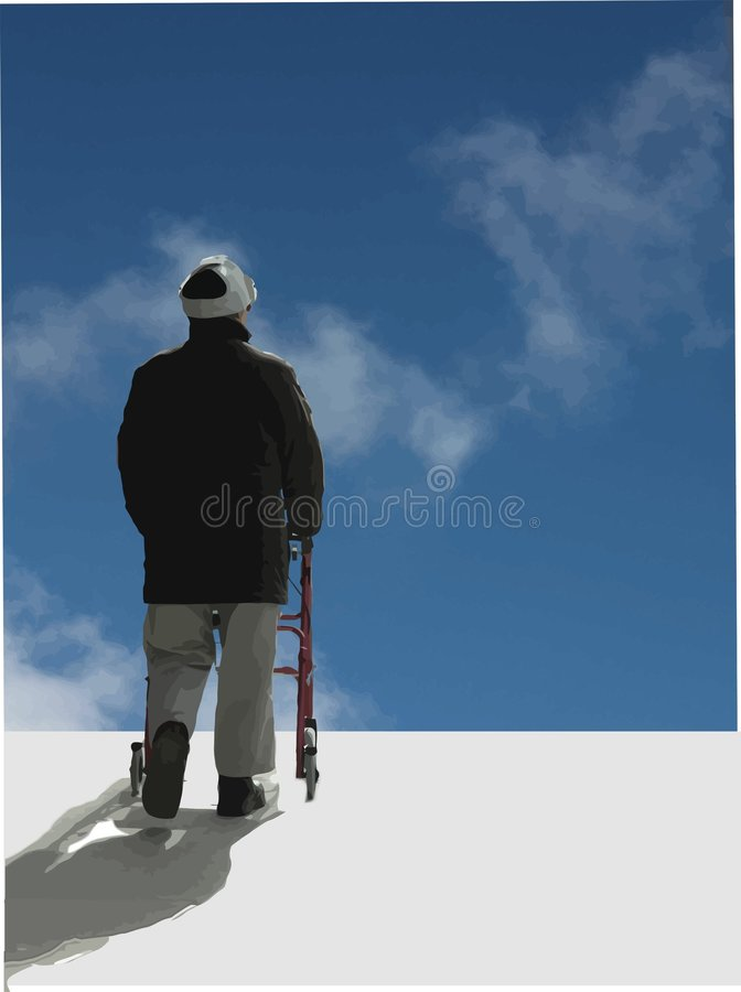 The end is near.. Man with the past behind him, and see's what the future holds ahead stock illustration