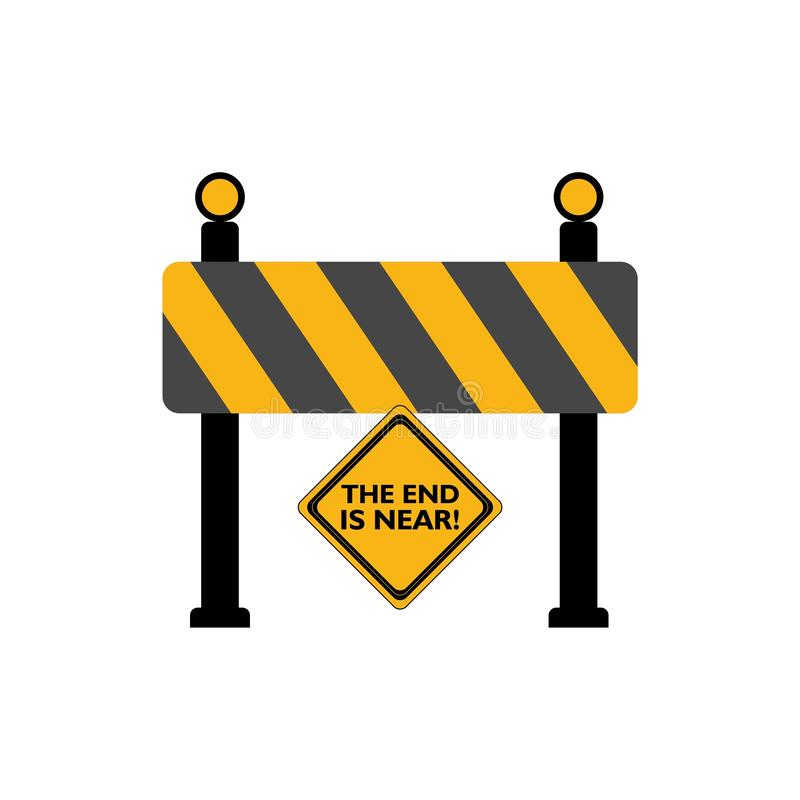 The End Is Near road sign. On white background royalty free illustration