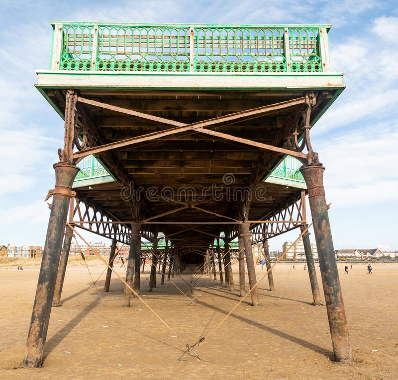 The end of the pier at St Annes on Sea Fylde Coast February 2019. The end of the pier pictured in the direction of the town at St Annes on Sea Fylde Coast royalty free stock photo