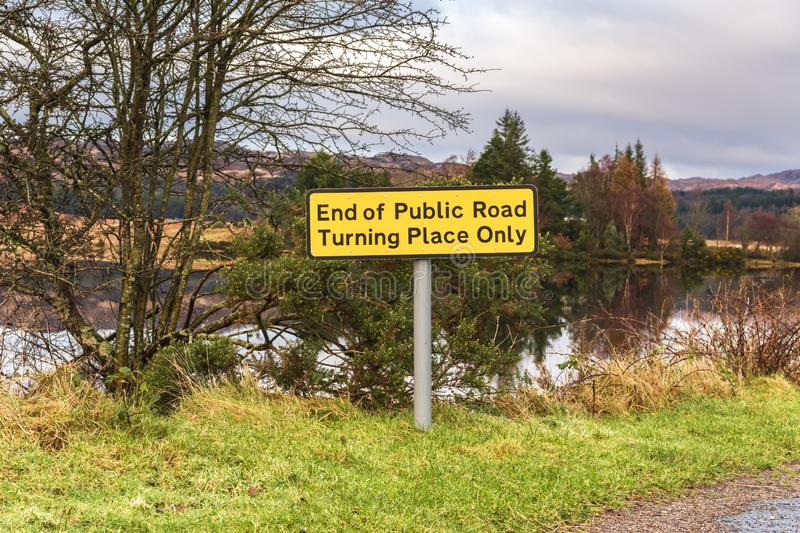 End of Public Road. Turning Place Only road sign near the pier at Acharacle in Argyll and Bute, Scotland royalty free stock image