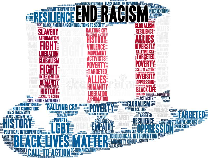 End Racism Word Cloud royalty free illustration