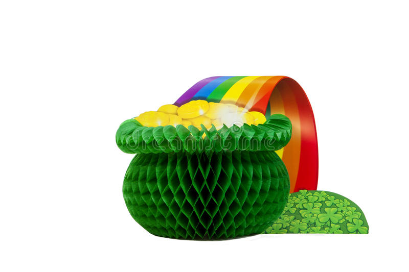 End of the Rainbow. A pot of gold centerpiece against a white background royalty free stock image
