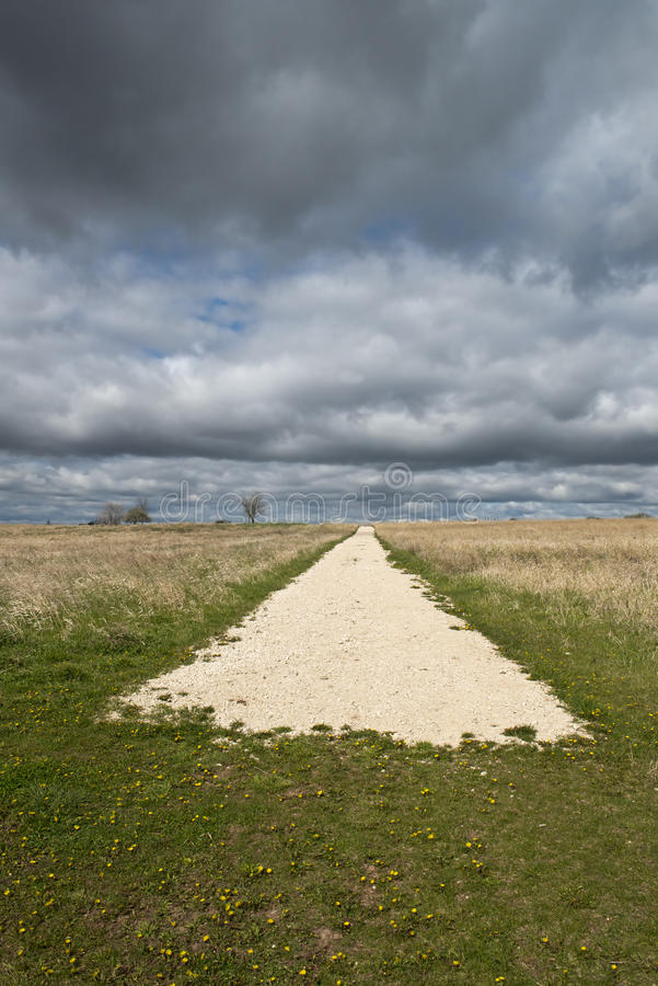 Download End Of The Road Abtract Concept With Sky, Clouds Stock Photo - Image of gravel, rural: 24525686