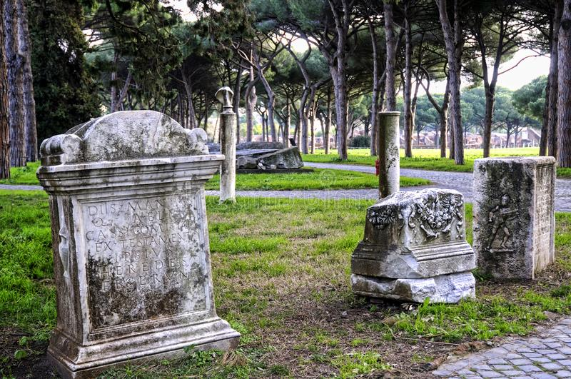 The archaeological site of Ostia Antica which was the old port of Rome in Italy stock image