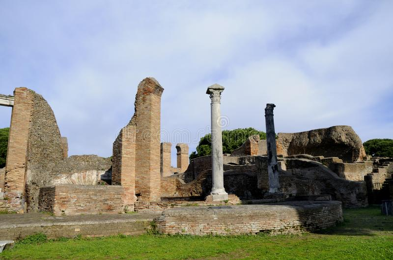 The archaeological site of Ostia Antica which was the old port of Rome in Italy royalty free stock image