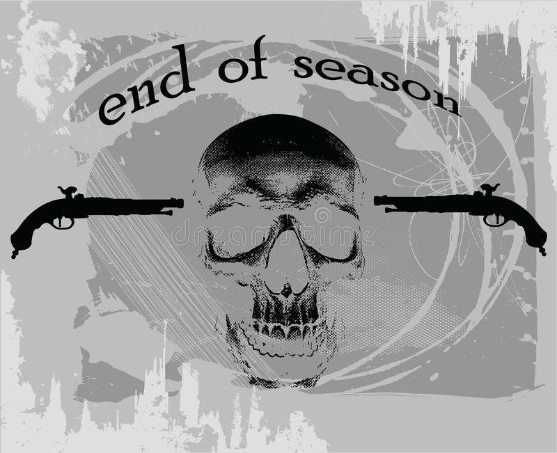 End of season. Skull illustration with the guns - end of season vector illustration