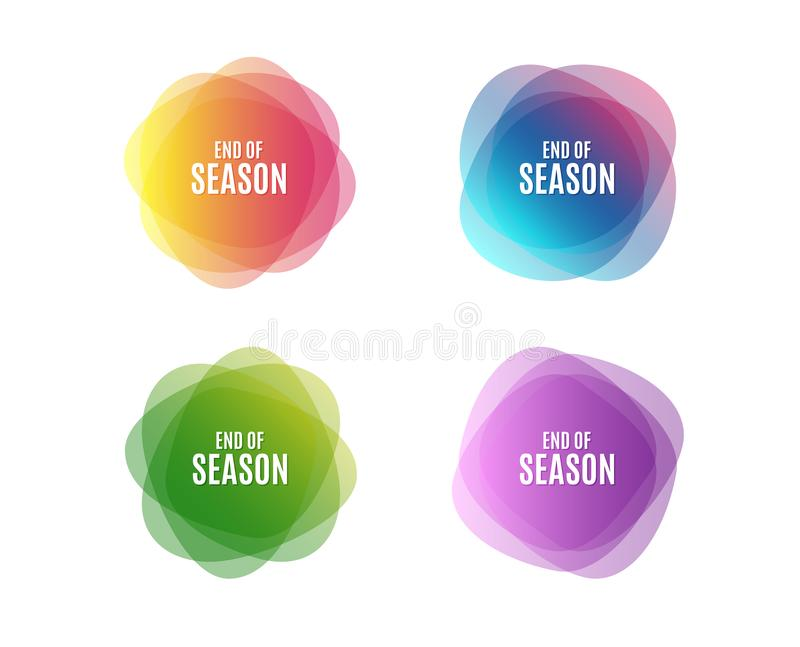 End of Season Sale. Special offer price sign. Advertising Discounts symbol. Colorful round banners. Overlay colors shapes. Abstract design concept. Vector royalty free illustration