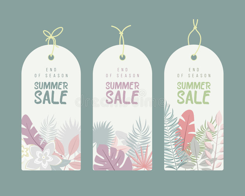 End of Season. Summer hand drawn calligraphyc sale tags set. Beautiful summer posters with palm leaves, textures and royalty free illustration