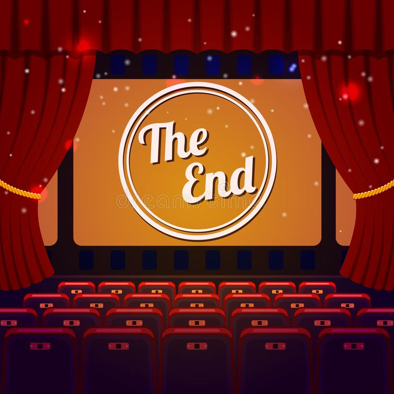 End Show Concept. Cinema and Theatre hall with seats, curtain and The End on screen. Vector illustration royalty free illustration