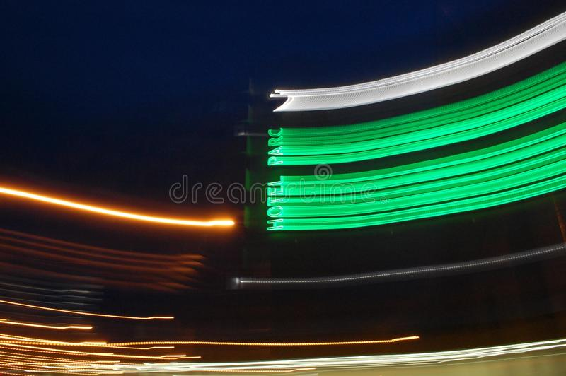 At Hotel Parc, turn right - light trail. At the end of the street there is a hotel, Hotel Parc, Sibiu. At the hotel, turn right. Follow these instructions at royalty free stock image