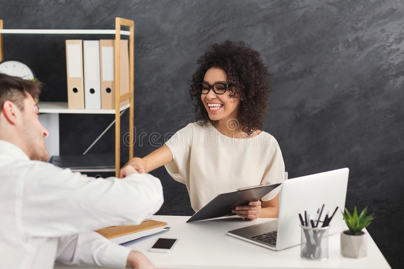 End of successful job interview, copy space stock image