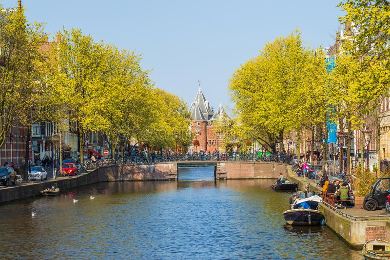 Kloveniersburgwal and Weigh House, Amsterdam, the Netherlands stock image