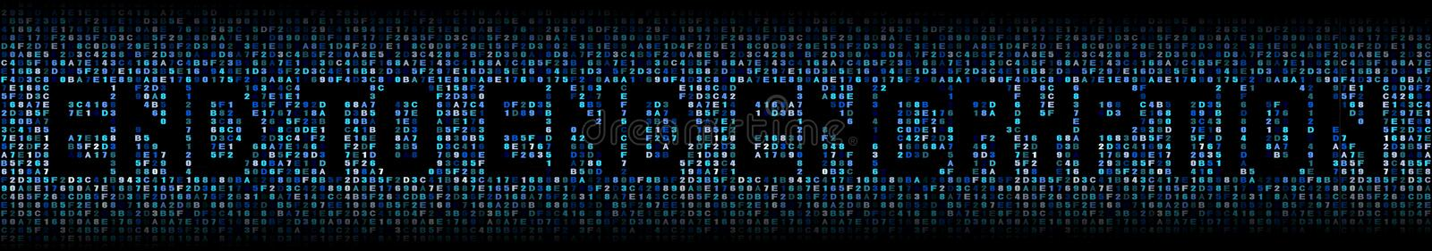 End to end encryption text on hex illustration stock photo