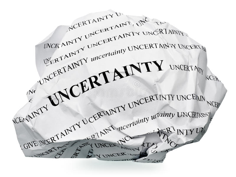 End the uncertainty. Paper ball with text uncertainty and clipping path on a white background royalty free stock image