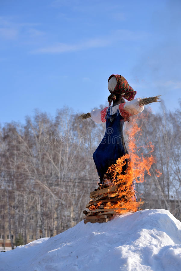 Burning effigies. Traditional off winter in late February royalty free stock images
