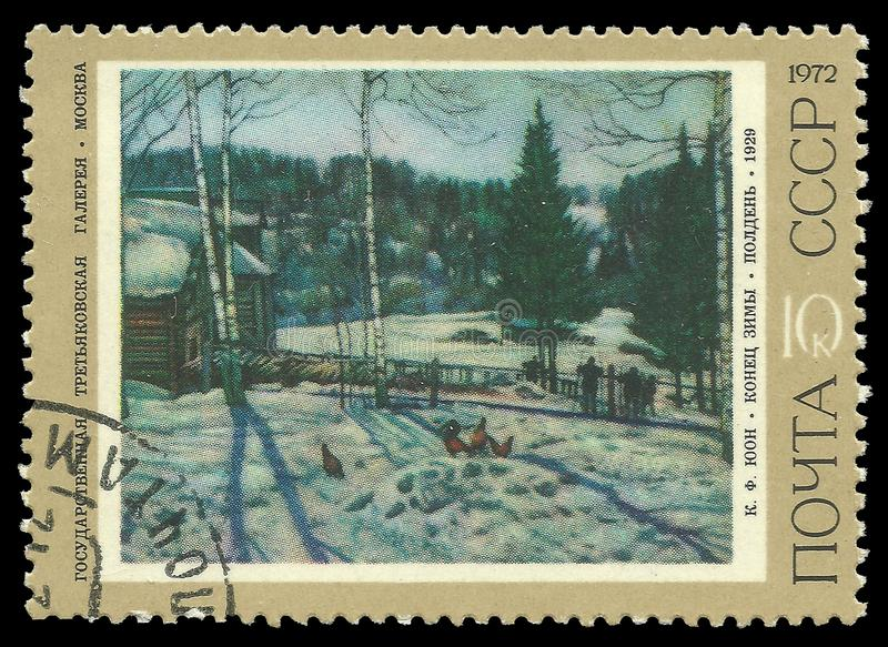 End of the winter noon by Juon. USSR - circa 1972: Stamp printed by USSR, Color edition on art, shows painting End of the winter noon by Juon, circa 1972 royalty free stock image