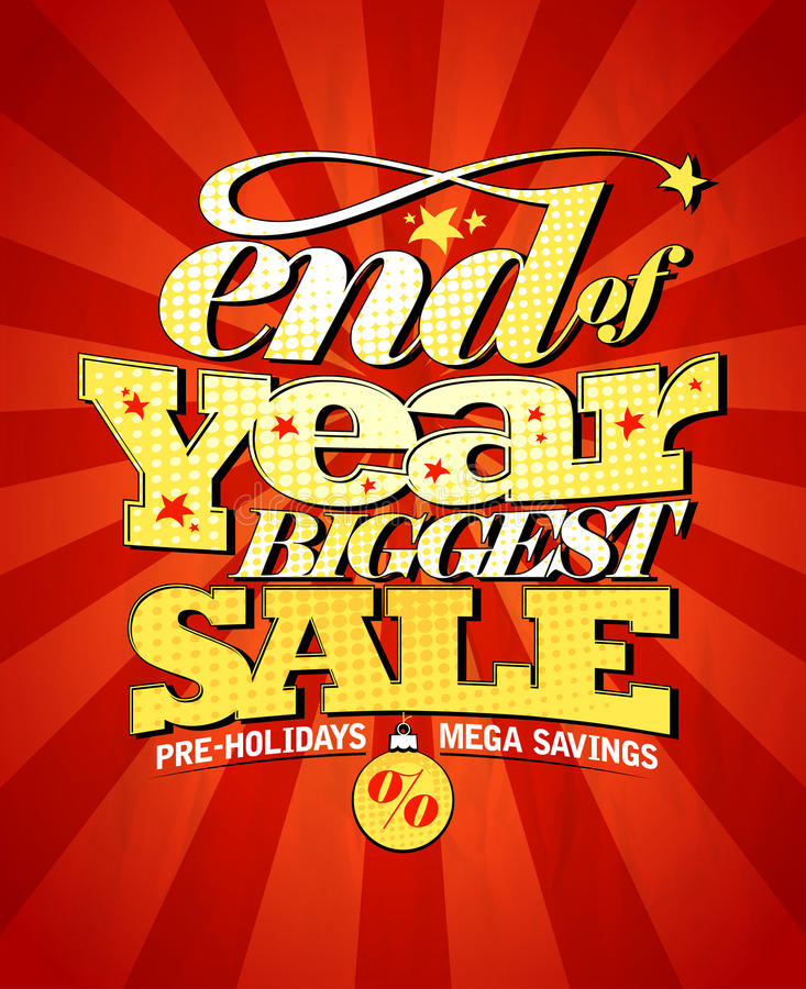 End of year biggest sale design. stock illustration