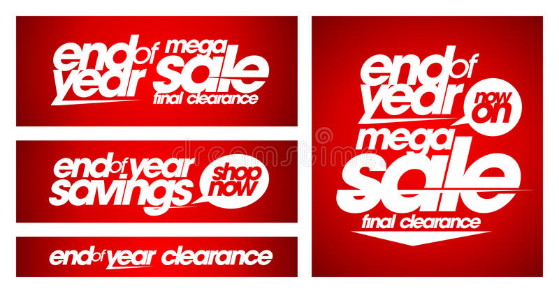 End of year mega sale banners. royalty free illustration