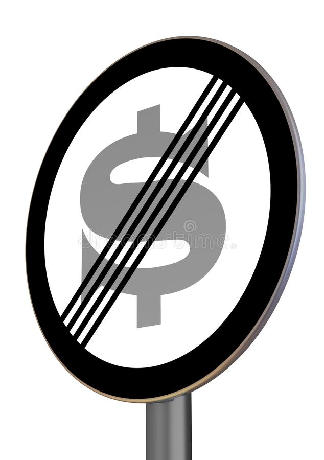 The end of the zone of prohibition of the action of the American dollar. Road sign with the symbol of the American dollar signifying the removal of restrictions royalty free illustration