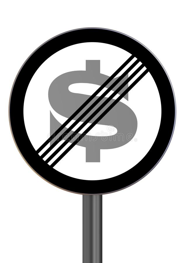 The end of the zone of prohibition of the action of the American dollar. Road sign with the symbol of the American dollar signifying the removal of restrictions vector illustration