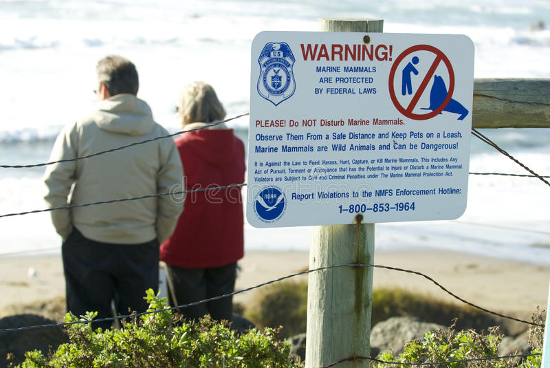 Download Endangered Elephant Seal Sign Editorial Photography - Image: 18191977