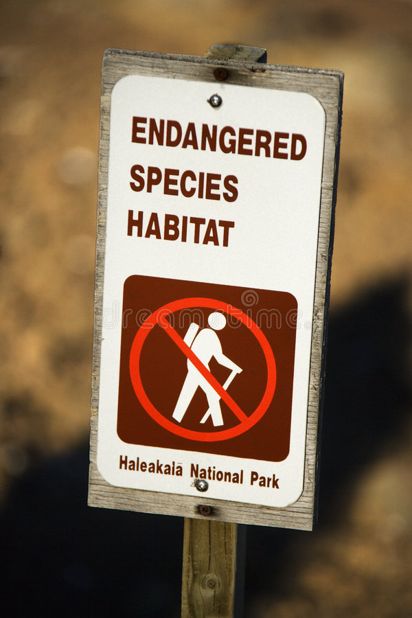 Endangered species sign. Endangered species habitat sign in Haleakala National Park in Maui, Hawaii stock photo