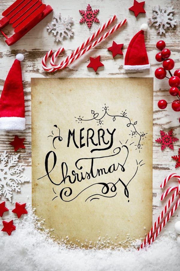 Endecha brillante del plano de la Navidad, nieve, Feliz Navidad de la caligrafía stock de ilustración