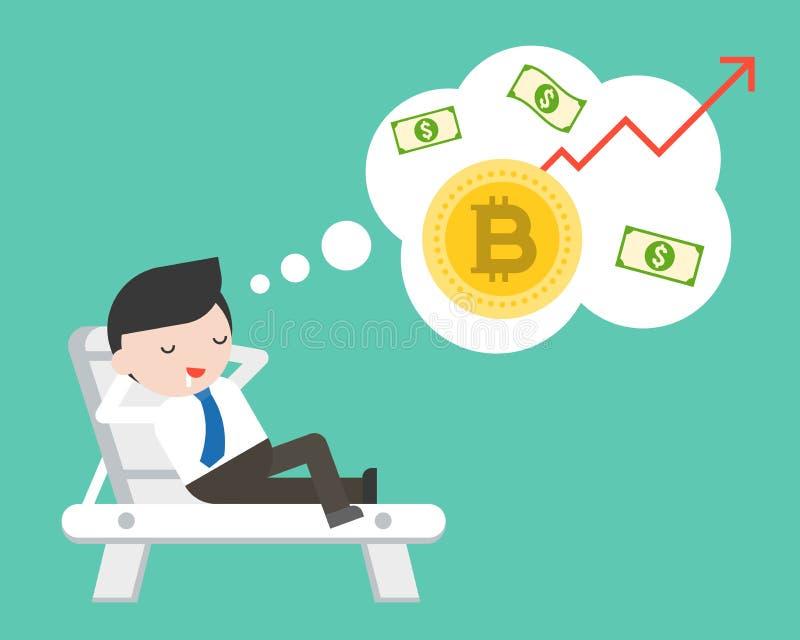 Endecha del hombre de negocios en la cama de la playa que sueña sobre el aumento del bitcoin val libre illustration