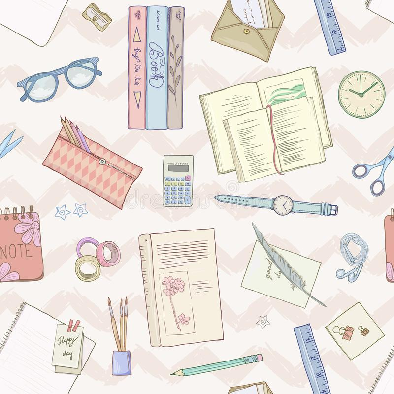 Endecha del plano de los efectos de escritorio, libros, fondo que estudia, forma de vida creativa, ejemplo dibujado mano inconsút stock de ilustración