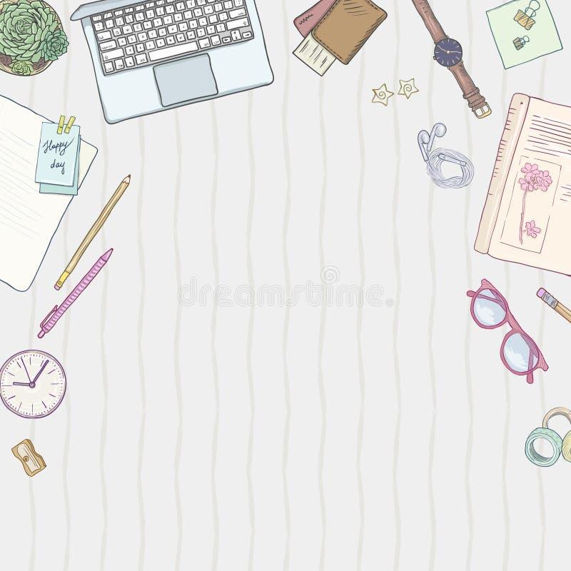 Endecha del plano de los efectos de escritorio, libros, fondo que estudia, forma de vida creativa, objetos dibujados mano de plan ilustración del vector