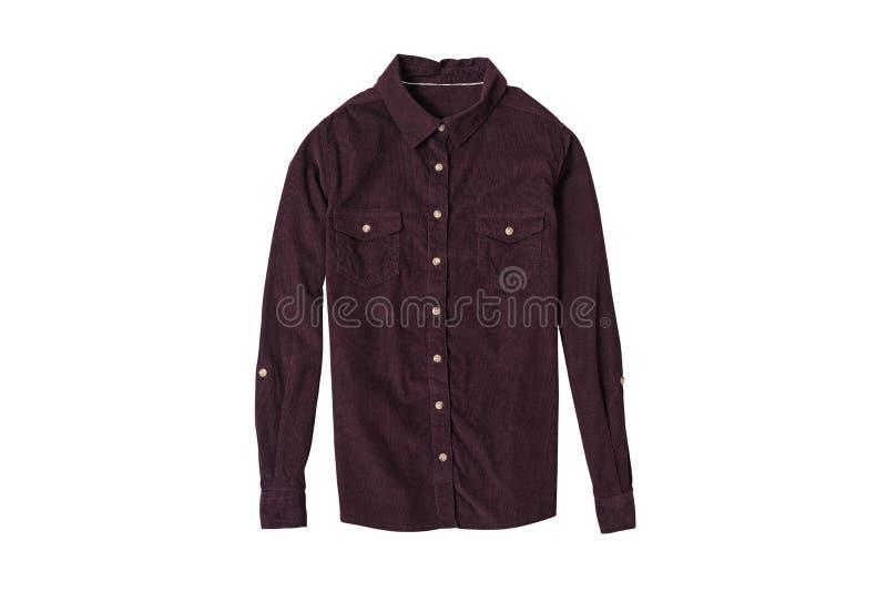 Endecha plana de la camisa marrón de la pana Concepto de la manera Aislante en el fondo blanco imagen de archivo