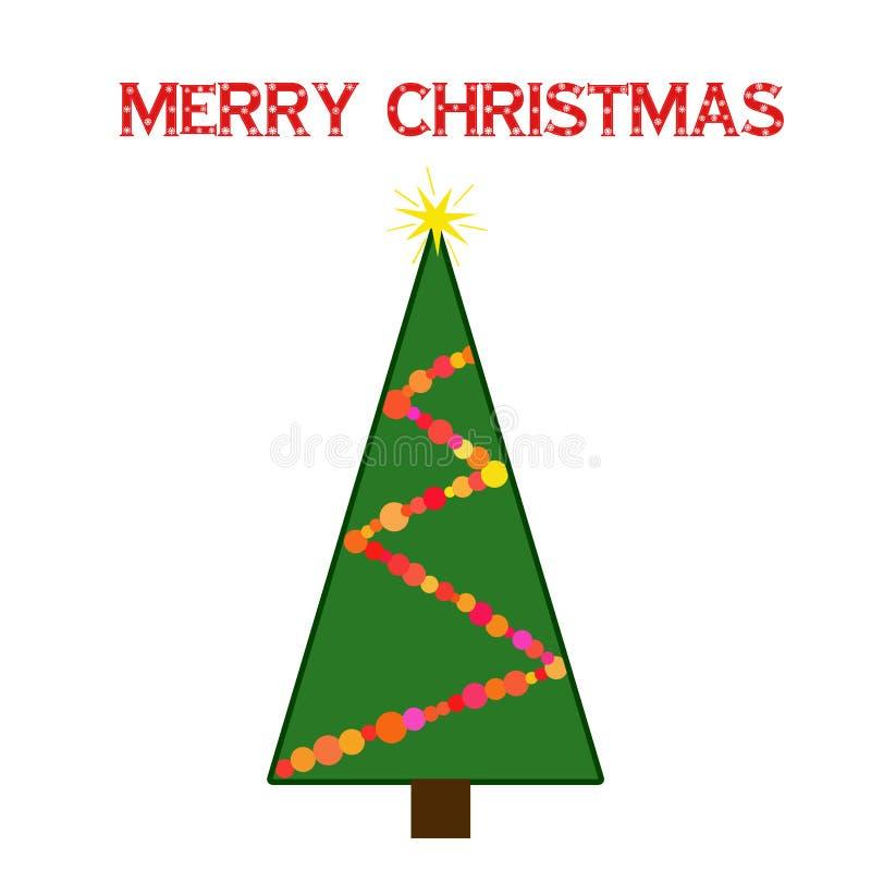 Endecha plana de la guirnalda del whith del verde del árbol de navidad stock de ilustración