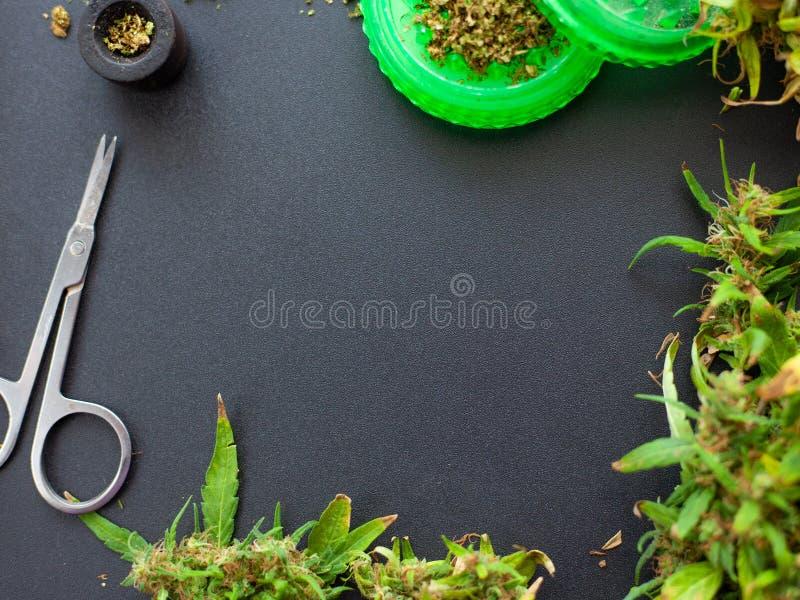 Endecha plana de la marijuana médica que fuma, maqueta de los brotes del cáñamo y accesorios para fumar en fondo oscuro fotos de archivo